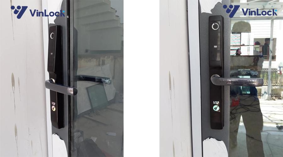 khóa điện tử cửa nhôm akita